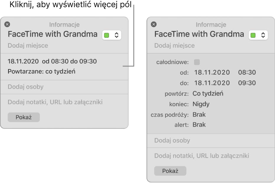 Okno informacji owydarzeniu zukrytymi szczegółami (po lewej) oraz okno informacji otym samym wydarzeniu zwyświetlonymi szczegółami dotyczącymi czasu trwania (po prawej).