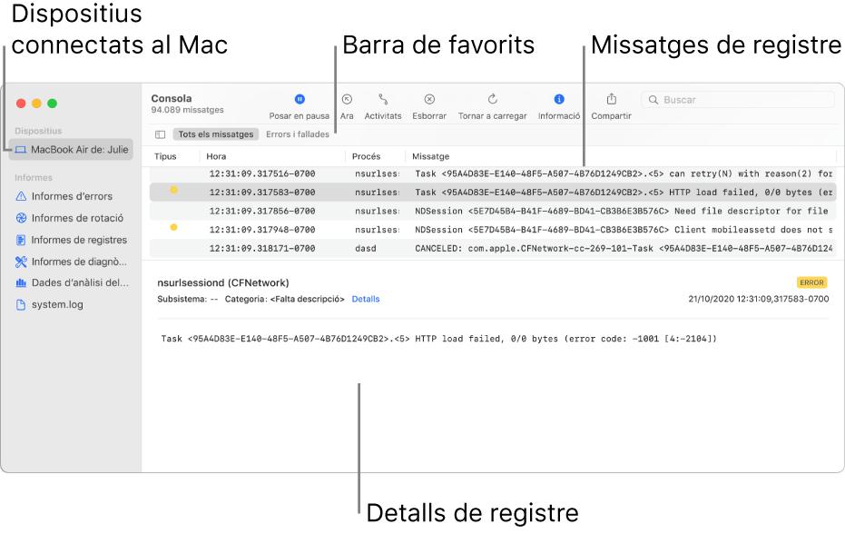 Finestra de la Consola que mostra els dispositius connectats al Mac a l'esquerra, els missatges de registre a la dreta i els detalls del registre a la part inferior; també conté una barra de favorits que mostra les teves cerques desades.