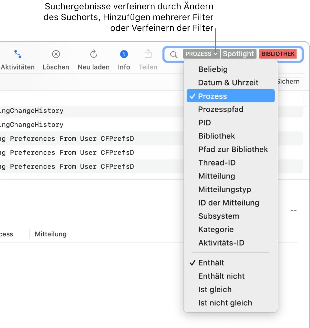 """Ganz oben im Fenster """"Konsole"""" befindet sich das Suchfeld, das zwei Suchfilter und ein Menü unter einem der Filter umfasst. Durch das Ändern des Filters, das Hinzufügen mehrerer Filter oder das Einengen der Filterkriterien kannst du die Ergebnisse der Suche verfeinern."""