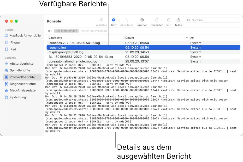 """Das Fenster """"Konsole"""" mit den Kategorien der Berichte in der Seitenleiste, den Berichten oben und in der Spalte rechts daneben und den Details der Berichte darunter."""
