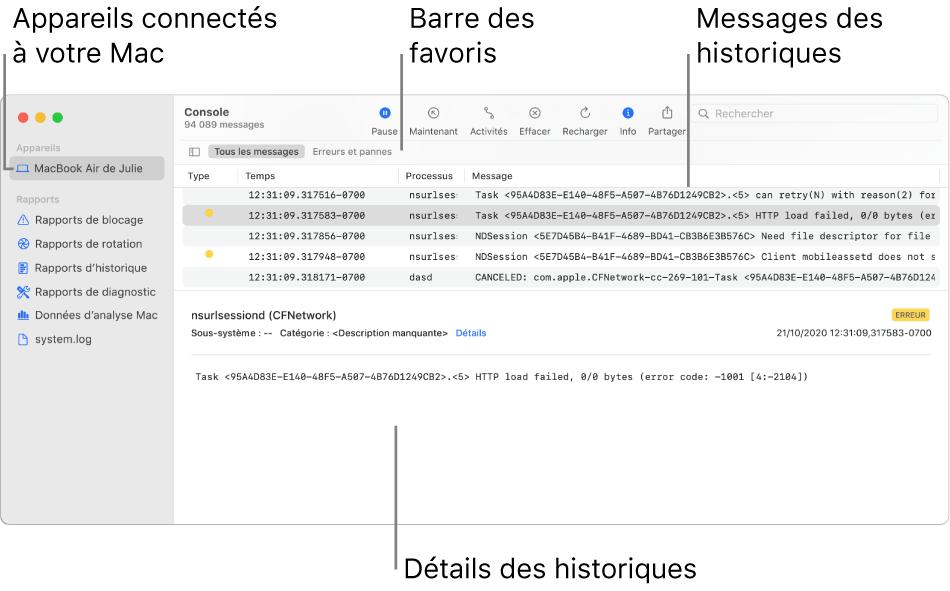La fenêtre de Console affichant les appareils connectés à votre Mac sur la gauche, les messages d'historique sur la droite et les détails d'historique en bas, ainsi que la barre des favoris montrant vos recherches enregistrées.