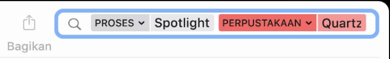 Bidang pencarian di jendela Konsol dengan kriteria pencarian diatur untuk menemukan pesan dari proses Spotlight, tetapi tidak dari perpustakaan Quartzcore.