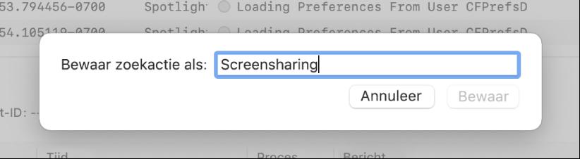 Afbeelding van hoe een zoekactie in Console wordt bewaard nadat zoekcriteria zijn opgegeven.
