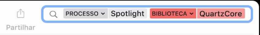 Campo de pesquisa na janela da Consola com os critérios de pesquisa definidos para procurar mensagens do processo Spotlight, mas não da biblioteca QuartzCore.