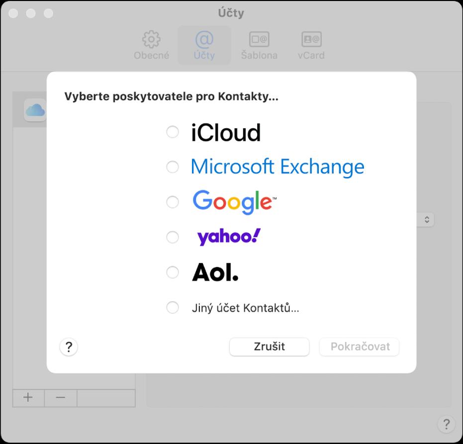 Okno pro přidávání internetových účtů do aplikace Kontakty