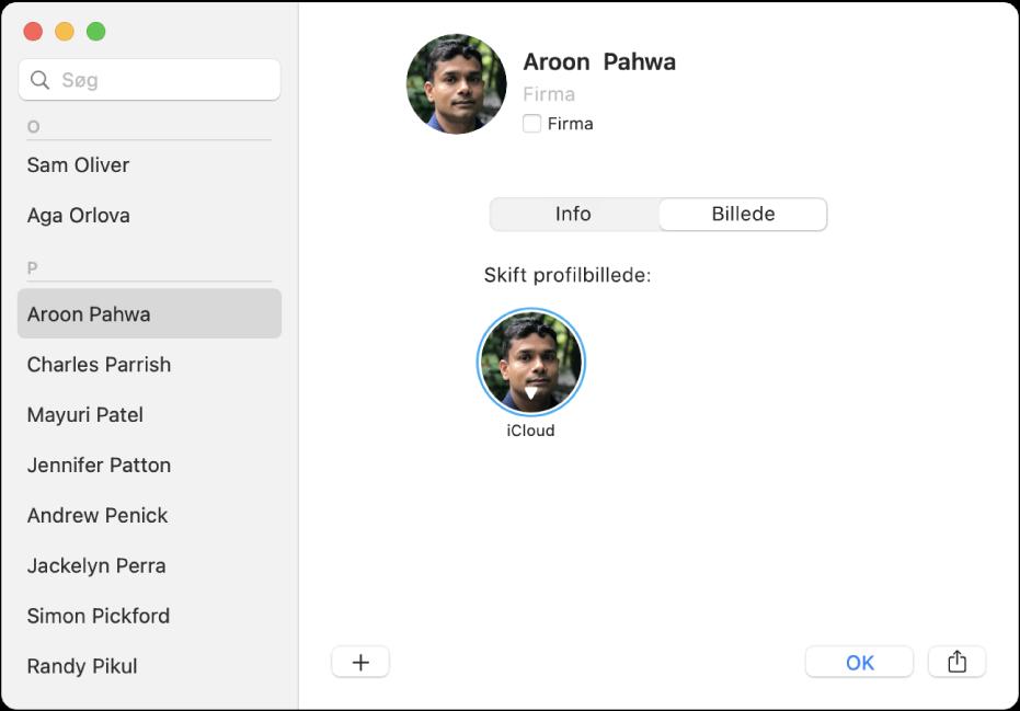 En kontakt er valgt på listen med kontakter til venstre i vinduet Kontakter. I feltet Billede til højre på kontaktkortet findes profilbilledet, som du skal klikke på, hvis du vil ændre det.
