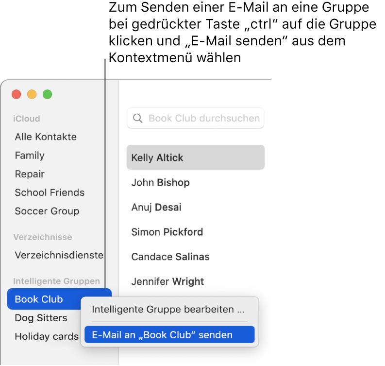 """Die Seitenleiste der App """"Kontakte"""" mit dem Einblendmenü mit der Option zum Senden einer E-Mail an die ausgewählte Gruppe"""