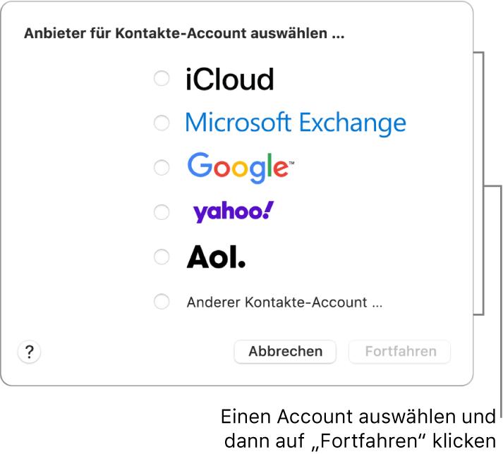 """Du kannst die folgenden Internet-Accounttypen zur App """"Kontakte"""" hinzufügen: iCloud, Exchange, Google, Yahoo, AOL und """"Anderer Kontakte-Account""""."""