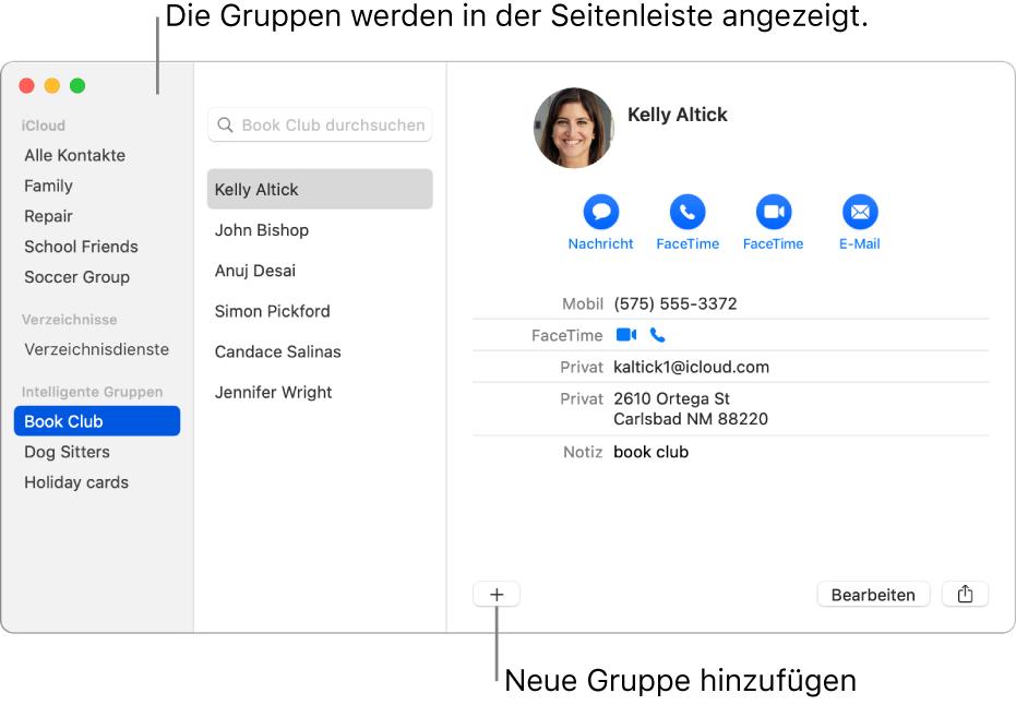 """Das Fenster der App """"Kontakte"""" mit verschiedenen Gruppen in der Seitenleiste und der Taste zum Hinzufügen einer neuen Gruppe unten auf einer Kontaktkarte"""