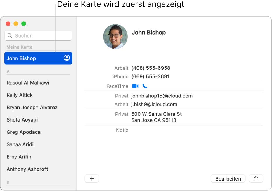 """Die Seitenleiste der App """"Kontakte"""" mit der Kontaktkarte ganz oben"""