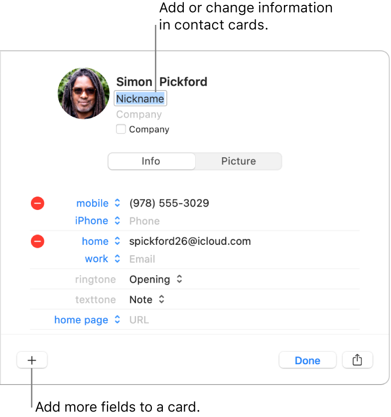 A contact card showing the nickname field below the contact's name and a button at the bottom of the window for adding more fields to the card.