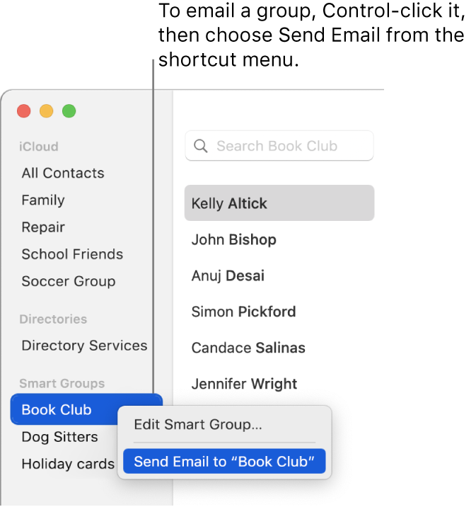 The Contacts sidebar showing the pop-up menu with the command for sending email to the group selected.