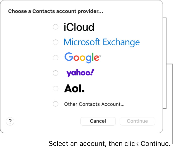 The list of internet account types you can add to the Contacts app: iCloud, Exchange, Google, Yahoo, AOL and Other Contacts Account.