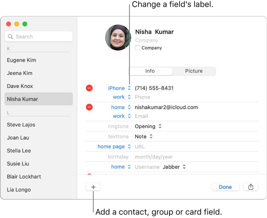 A contact card showing a field label that can be changed and the button at the bottom of the card for adding a contact, group or card field.