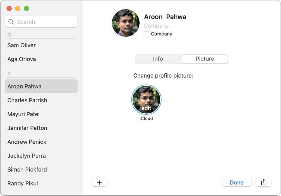 In the Contacts window, on the left, a contact is selected in the list of contacts. On the right, in the Picture pane of the contact's card, is the contact's profile picture that you click to change.