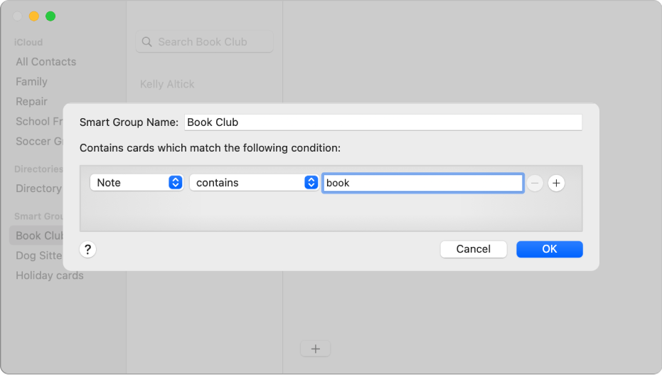 "The window for adding a Smart Group, with a group named Book Club that includes contacts who have the word ""book"" in their Note field."