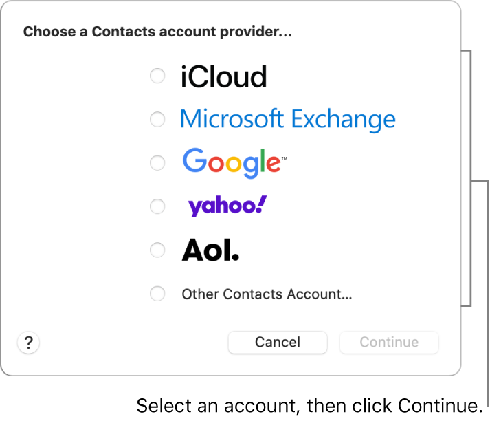 The list of internet account types you can add to the Contacts app: iCloud, Exchange, Google, Yahoo, AOL, and Other Contacts Account.