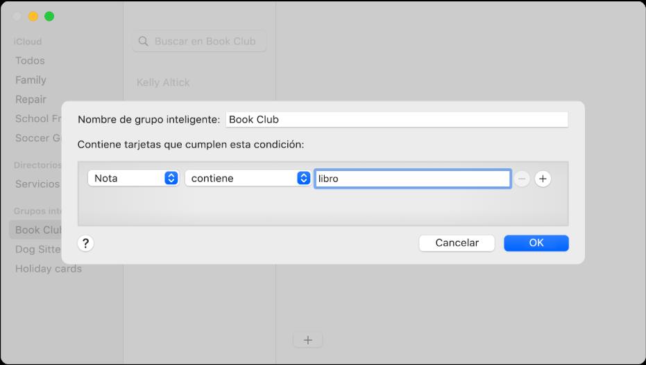 """La ventana para agregar un grupo inteligente con un grupo llamado """"Club de lectura"""" que incluye contactos que tienen """"lectura"""" en el campo Nota."""