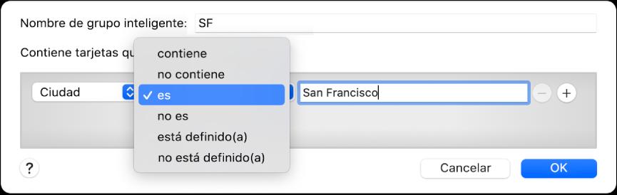 """La ventana del grupo inteligente mostrando un grupo llamado SF y una condición con tres criterios: """"ciudad"""" en el primer campo, """"es"""" seleccionado desde el menú desplegable en el segundo campo y """"San Francisco"""" en el tercero."""