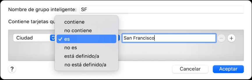"""La ventana de grupos inteligentes con un grupo llamado SF y una condición con tres criterios: """"Ciudad"""" en el primer campo, la opción """"es"""" seleccionada en un menú desplegable en el segundo y """"San Francisco"""" en el tercero."""
