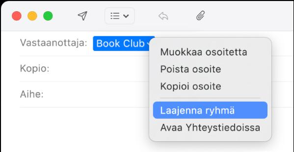 Mailissa sähköposti, jonka Vastaanottaja-kentässä näkyy ryhmä, ja ponnahdusvalikossa näkyy valittuna Laajenna ryhmä -komento.