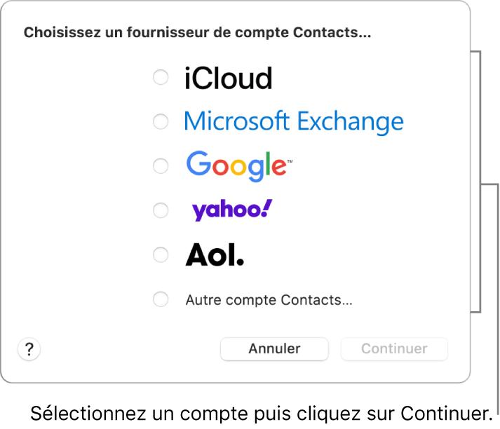 La liste des types de comptes Internet que vous pouvez ajouter à l'app Contacts: iCloud, Exchange, Google, Yahoo, AOL et «Autre compte Contacts».
