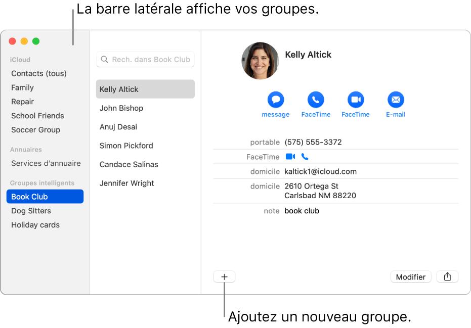La fenêtre Contacts affichant la barre latérale avec des groupes, comme Équipe de cyclisme, et le bouton en bas de la fiche d'un contact pour ajouter un nouveau groupe.