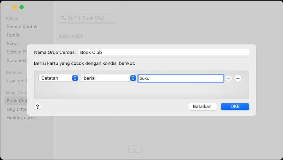 """Jendela untuk menambahkan Grup Cerdas, dengan grup yang diberi nama Klub Buku yang menyertakan kontak yang memiliki kata """"buku"""" di bidang Catatannya."""