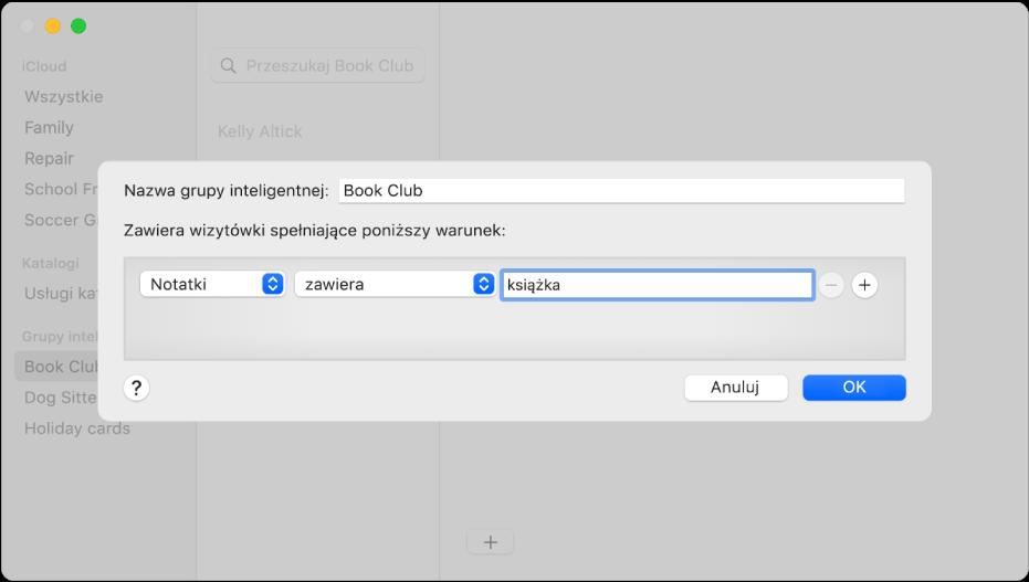 """Okno dodawania grupy inteligentnej onazwie Klub książkowy zawierającej kontakty, które wpolu Notatka mają słowo """"książka""""."""