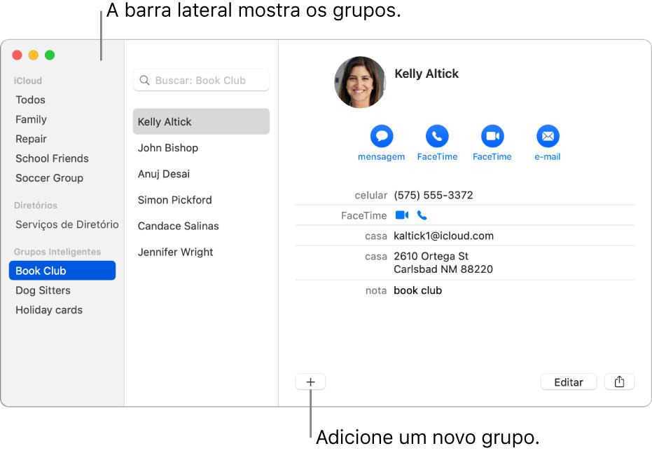 Janela do Contatos mostrando a barra lateral com grupos, como Grupo de Ciclismo, além do botão na parte inferior de um cartão de contato para adicionar um novo grupo.