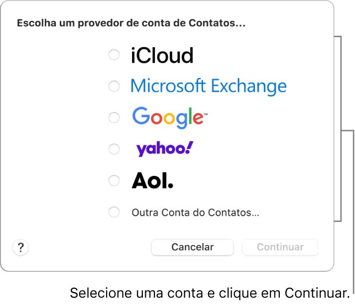 A lista de tipos de contas de internet que você pode adicionar ao app Contatos: iCloud, Exchange, Google, Yahoo, AOL e Outra Conta do Contatos.