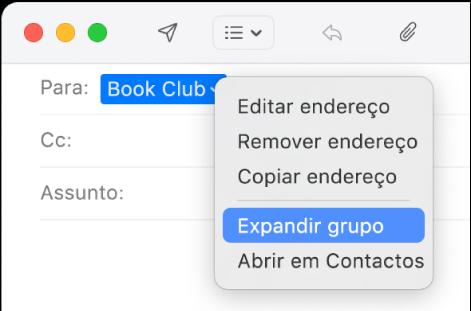 Um e-mail na aplicação Mail a mostrar um grupo no campo Para e o menu pop-up com o comando Expandir grupo.
