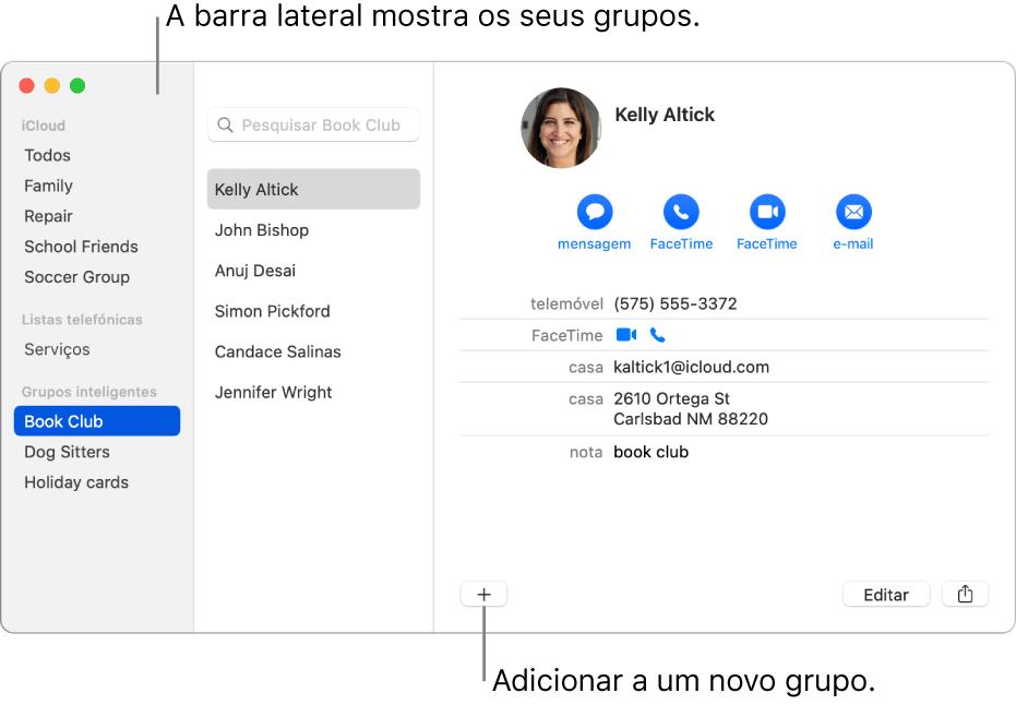 A janela da aplicação Contactos a mostrar a barra lateral com grupos, como Grupo de ciclismo, e o botão no fundo de uma ficha de contacto para adicionar um novo grupo.