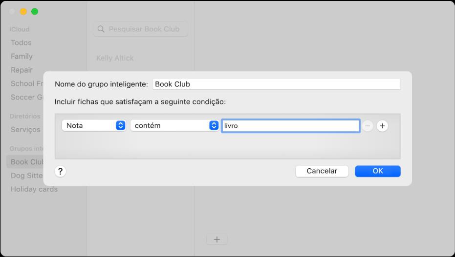 """A janela para adicionar um grupo inteligente, com um grupo designado """"Clube do livro"""" que inclui contactos que têm a palavra """"livro"""" no campo Nota."""