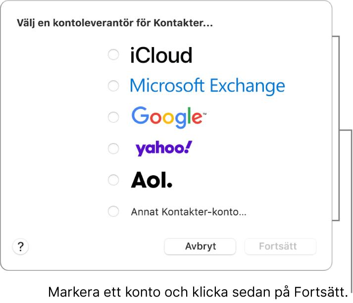 Listan över internetkontotyper som du kan lägga till i Kontakter: iCloud, Exchange, Google, Yahoo, AOL och Annat Kontakter-konto.