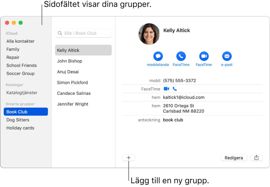 Fönstret Kontakter med sidofältet med grupper, bland annat Cykelgrupp, och knappen för att lägga till en ny grupp längst ned på ett kontaktkort.