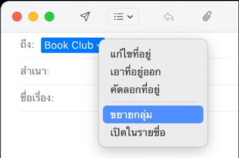 อีเมลในเมลที่แสดงกลุ่มในช่องถึง และแสดงว่าเลือกเมนูที่แสดงขึ้นที่แสดงคำสั่งขยายกลุ่มอยู่