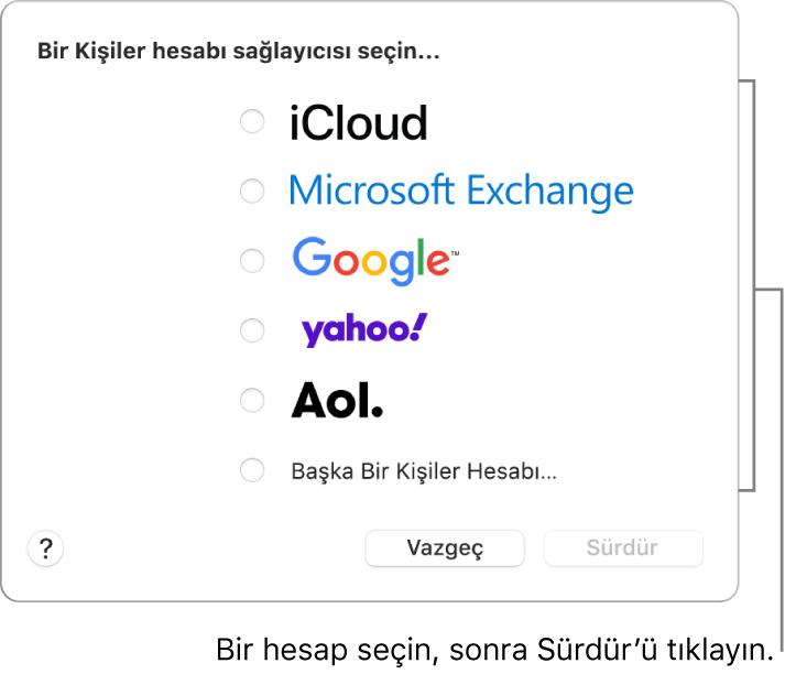 Kişiler uygulamasına ekleyebileceğini internet hesabı türlerinin listesi: iCloud, Exchange, Google, Yahoo, AOL ve Başka Bir Kişiler Hesabı.