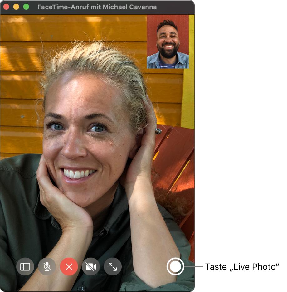 """Bewege den Zeiger über das FaceTime-Fenster, damit die Taste """"LivePhoto"""" eingeblendet wird."""