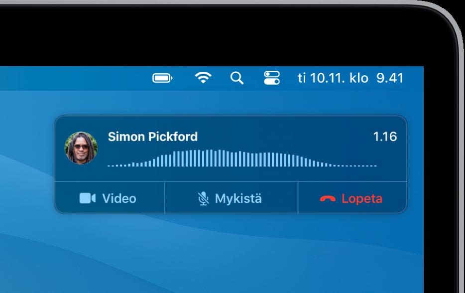 Macin näytön oikeaan yläkulmaan tulee näkyviin ilmoitus, jossa näkyy, että puhelu on käynnissä.