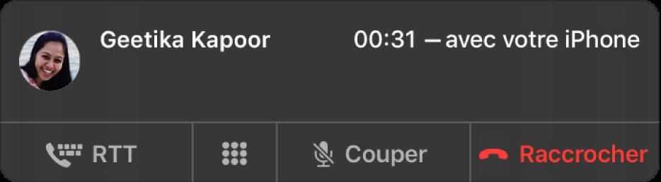 Une notification d'un appel RTT entrant.