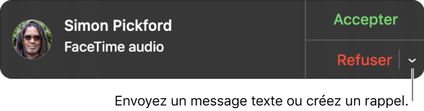 Cliquez sur la flèche en regard de Refuser dans la notification pour envoyer un message texte ou créer un rappel.