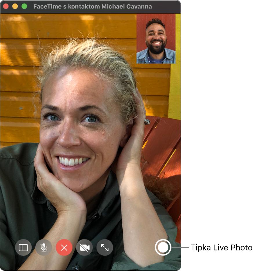 Pomaknite pokazivač preko prozora aplikacije FaceTime da biste vidjeli tipku Live Photo.