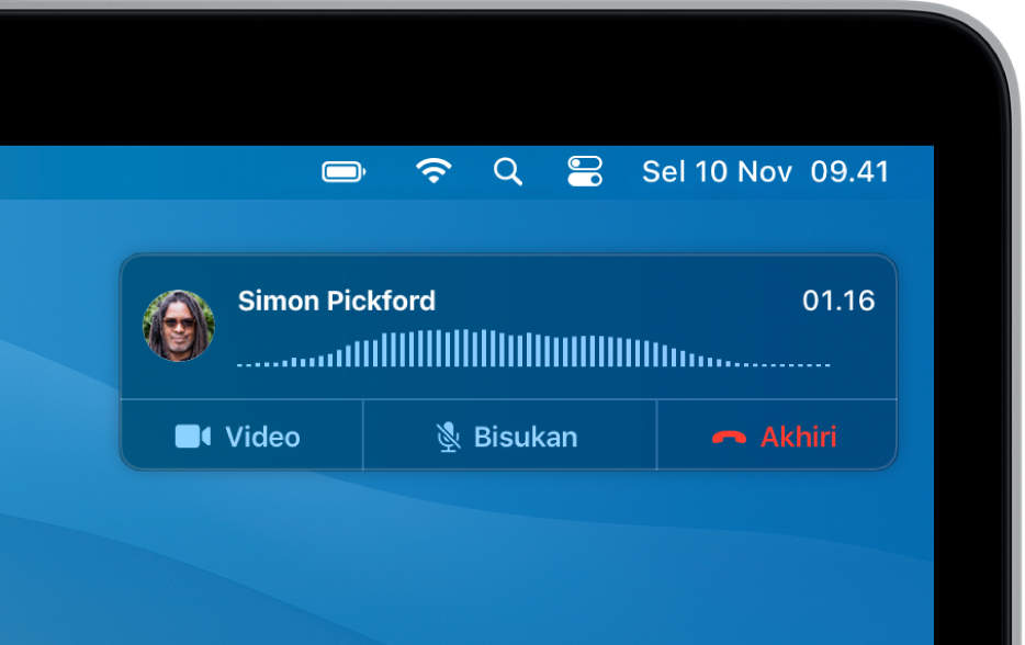Pemberitahuan muncul di pojok kanan atas layar Mac, menampilkan panggilan telepon yang sedang berlangsung.