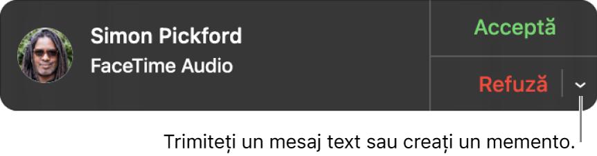 Faceți clic pe săgeata de lângă Respinge din notificare pentru a crea un mesaj text sau creați un memento.