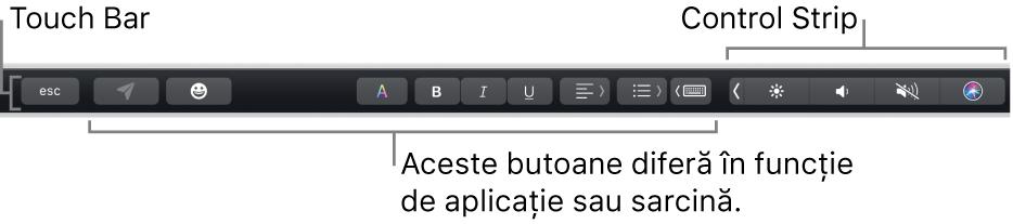 TouchBar de-a lungul părții de sus a tastaturii, afișând banda Control Strip restrânsă în dreapta și butoane care variază în funcție de aplicație sau sarcină.