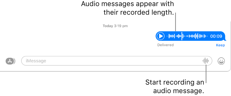 A conversation in the Messages window, showing the Record Audio button next to the text field at the bottom of the window. An audio message appears with its recorded length in the conversation.