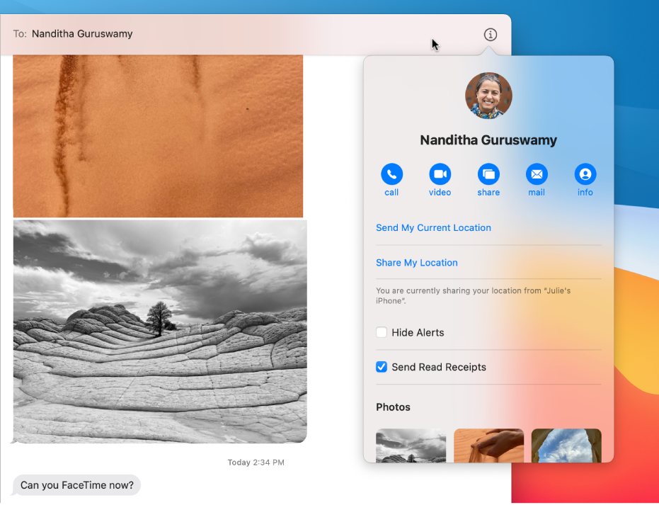 Details view, with the call, video, and screen sharing buttons under your friend's name.