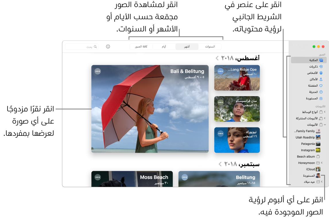 نافذة الصور تعرض الخيار أشهر محددًا في شريط الأدوات والصور المنظمة حسب الشهر تظهر في المنطقة الأساسية من النافذة. على اليمين يوجد الشريط الجانبي، حيث يمكنك تحديد ألبومات ومشاريع.