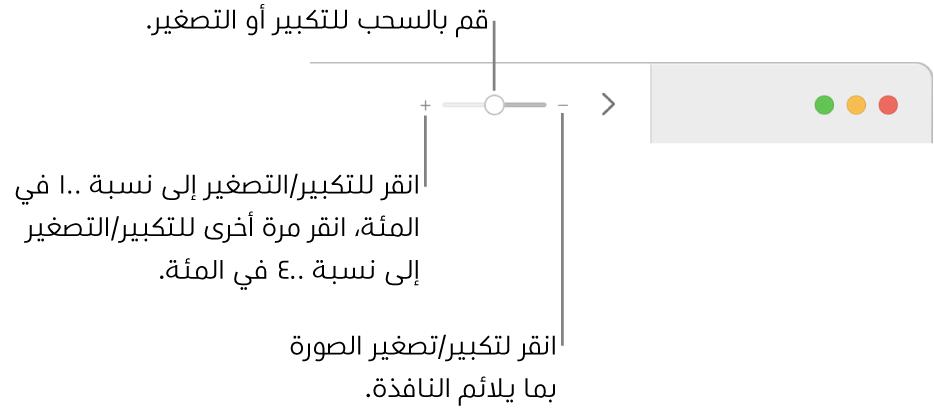 شريط الأدوت وتظهر عليه عناصر التحكم في التكبير/التصغير.